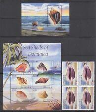 DOMINICA 2004 SEA SHELLS MINI SHEETS (x2) PLUS BLOCK OF 4 MINT (ID:R52587)