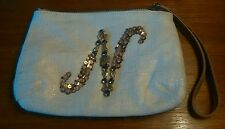 Anthropologie Miss Albright Wristlet Clutch Purse Bag Linen Wool Monogram N