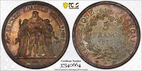 1873-A FRANCE PCGS 5 FRANCS GAD-745A PCGS MS63 COLOR TONED VERY RARE