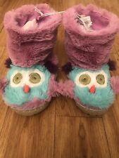 ba35eb276e1 Slouch Slippers Size 1-2 Little Blue House by Hatley Owl Kids Fuzzy