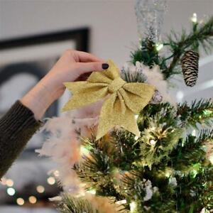 4/8pcs Christmas Tree Decor Glitter Bows&Hanging Xmas Party Ornament Decoration