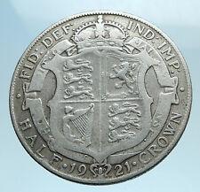 1921 Great Britain United Kingdom UK King GEORGE V Silver Half Crown Coin i77685