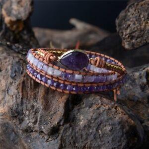 Natural Amethyst Geode & Tila Beads Beaded Wrap Bracelet Leather Cuff Purple