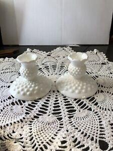 """Vintage Fenton Milk Glass ~ HOBNAIL ~ 3 1/2 """" Candle Stick Holders-Set Of 2"""