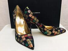 Vintage Multicolor Lurex Squares  Dolce & Gabbana Pumps Size 39