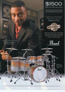 2008 Print Ad of Pearl Masters MCX Orange Sparkle Maple Drum Kit w Ricky Lawson