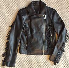 AMARYLLIS Womens Black Genuine Leather Fringe Bomber Moto Jacket Asymmetrical S