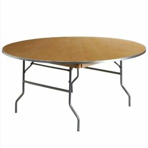Commercial Folding Table Event Party 5ft Round Banquet Wooden Dining Table