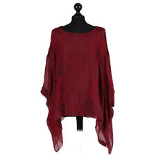 Italian Embroidered Silk Lagenlook Batwing Top Red Wine