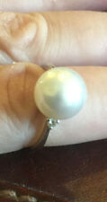 Cultured Pearl And Diamond Ring 9ct White Gold