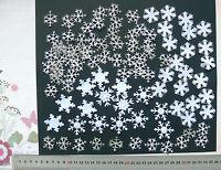 100 SNOWFLAKES 6 Styles WHITE Satin & Felt + SILVER Sparkle - 25to35mm Sizes L6