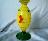 Art Glass Hand Blown Vase Yellow Green Swirl Arthropomorphic Artist Signed