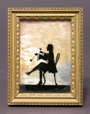 Tiny 1920's Reverse Painting on Glass Silhouette Signed T.C.D., Seed Pod Backing