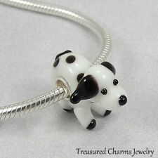 Puppy Dog Lampwork Glass Large Hole Bead Charm fits European Bracelets