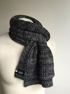 SUPERDRY Cable Knit Mens Grey Scarf Logo