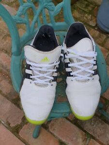 Mens Adidas golf shoes Powerband white leather size 10.5 used fair condition