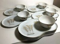 Fukagawa Arita China Snack Set - 8 Snack Plates + 5 Teacups Pattern No. 901
