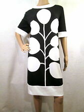 LONDON TIMES Black & Beige Floral Short Sleeve Knit Shift Dress, Size 18
