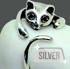 NEW 925 SOLID STERLING SILVER Adorable Cat Ring- BLACK Crystal Eyes–Adjustable