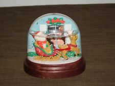 "Vintage Christmas 1988 Avon 4 1/4"" Santa Claus & Reindeer Light Up Snowdome"