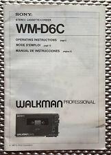 Operating Instructions for Sony WM-D6C Walkman Professional