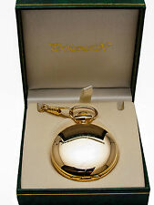PRIMEMAX POCKETWATCH, ENGRAVABLE CASE GOLD FINISH,WITH DATE, CHAIN