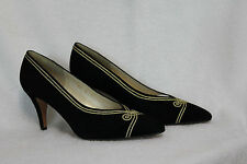 NEW EVAN-PICONE BLACK SUEDE EVENING HEEL WITH GOLD BRAID DETAIL