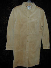 LEATHER COAT Chelsea Studio Women 10 Tan 100% Suede Dress Long Trench Tough Nice