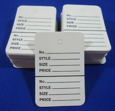 100 White Unstrung Coupon Garment Merchandise Price Tags Small