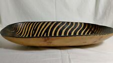 Rustic Hand Carved Light Brown & Black Wavy Stripes Decorative Oval Wooden Bowl