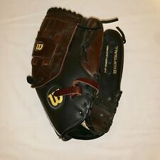 "Wilson Elite Series Softball Glove A2477 13"" Lh Black Leather Right Throw"