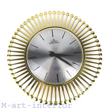 beautiful Sunburst Brass Wall Clock by MEISTER ANKER mid-century modern 50s 60s