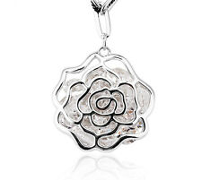 Flower Shaped Pendant Necklace made with Swarovski Crystal and Rhodium Plating