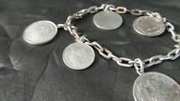 Great STERLING Silver COIN CHARM Bracelet with 1865-1952 EUROPEAN SILVER COINS