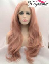 Fashion Baby Pink Long Wavy Lace Front Wig 22 inch Synthetic