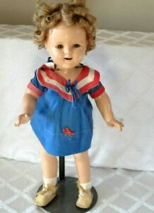 """VINTAGE SHIRLEY TEMPLE COMPOSITION DOLL-JOINTED 17""""- NOT MARKED- IDEAL ??"""