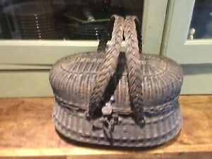 vintage wicker fishing basket