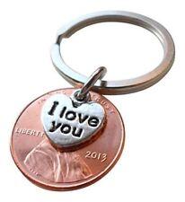 I Love You Heart Charm Layered Over 2013 Penny Keychain 4 Year Anniversary
