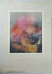 Engraving Lithography Original David Hamilton Still Life Bouquet of Flowers