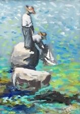 """Original Painting """"Two Boys and Sailboat"""" Acrylic on Canvas 5""""x7"""" by C. Pecharka"""