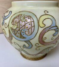 Antique Ginger Jar Vase Light yellow Rainbow gold trim signed Dated 1897 H W Veq