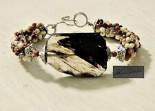 "CoiledWire Wrapped Faceted Smokey Quartz ""Arizona Mountains Grandeur"" Cuff 8"""