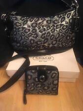 Coach Ashley Ocelot Metallic Leopard Gray Black Silver Bag 15521+ Bifold Wallet