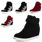 Black Women Soft Strap Hidden Heel High Top Sneakers Ankle Wedge Shoes Boots
