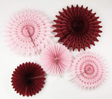 Burgundy Pink Bridal Shower Decorations Pinwheels Paper Fan 7Pcs Burgundy Cream