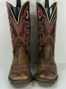 Ariat Womens Sz 7 B Brown Pink Crossfire Square Toe Western Leather Cowboy Boots