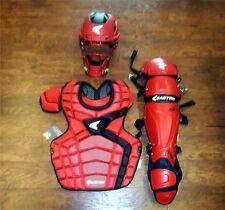 "Easton Mako Adult Baseball Catcher's Gear Set NEW Red/Black CP: 16.5"" Shin: 17"""