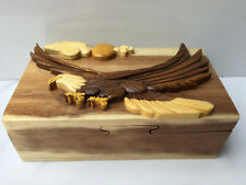 Handmade Wooden Wood Intarsia Puzzle Eagle Fantasy Trinket Box