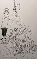 MILDA VIZBAR NEW YORK CITY ORIGINAL ILLUSTRATION DRAWING FIGURE BATHTUB STUDY