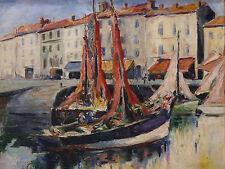 Retour de peche:HUILE ancienne signée Marine post Impressionniste La rochelle ?